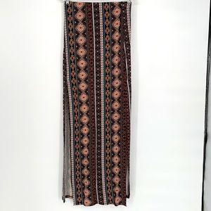 Revamped maxi side long slit antique print skirt